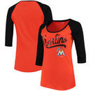 Miami Marlins 5th & Ocean by New Era Women's Baby Jersey 3/4-Sleeve Raglan T-Shirt - Red/Black