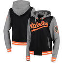 Baltimore Orioles 5th & Ocean by New Era Women's French Terry Contrast Sleeves Full-Zip Hoodie Jacket - Black/Charcoal