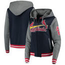 St. Louis Cardinals 5th & Ocean by New Era Women's French Terry Contrast Sleeves Full-Zip Hoodie Jacket - Navy/Charcoal