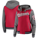 Washington Nationals 5th & Ocean by New Era Women's French Terry Contrast Sleeves Full-Zip Hoodie Jacket - Red/Charcoal