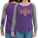 Clemson Tigers Women's College Football Playoff 2016 National Champions Preppy Patch Long Sleeve T-Shirt - Purple/Gray