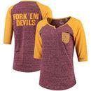 Arizona State Sun Devils Pressbox Women's Baja Raglan Pocket T-Shirt - Heathered Maroon/Gold