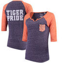 Clemson Tigers Pressbox Women's Baja Raglan Pocket T-Shirt - Heathered Purple/Heathered Orange