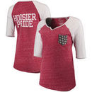Indiana Hoosiers Pressbox Women's Baja Raglan Pocket T-Shirt - Heathered Crimson/White