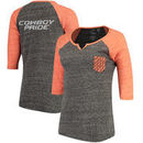Oklahoma State Cowboys Pressbox Women's Baja Raglan Pocket T-Shirt - Heather Black/Orange