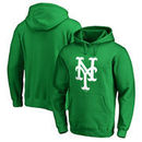 New York Mets Fanatics Branded St. Patrick's Day White Logo Pullover Hoodie - Kelly Green