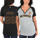 Buster Posey San Francisco Giants Majestic Women's From the Stretch Pinstripe Name & Number T-Shirt - Gray/Black