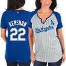 Clayton Kershaw Los Angeles Dodgers Majestic Women's From the Stretch Pinstripe Name & Number T-Shirt - Gray/Royal