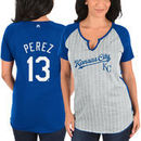 Salvador Perez Kansas City Royals Majestic Women's From the Stretch Pinstripe Name & Number T-Shirt - Gray/Royal