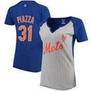 Mike Piazza New York Mets Majestic Women's Cooperstown Collection From the Stretch Name & Number T-Shirt - Gray