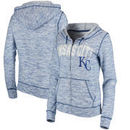 Kansas City Royals 5th & Ocean by New Era Women's Space Dye French Terry Full-Zip Hoodie - Royal