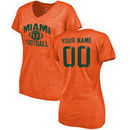 Miami Hurricanes Fanatics Branded Women's Distressed Personalized Football Tri-Blend T-Shirt - Orange