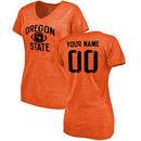 Oregon State Beavers Fanatics Branded Women's Distressed Personalized Football Tri-Blend T-Shirt - Orange