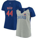 Anthony Rizzo Chicago Cubs Majestic Women's Plus Size Pinstripe Player T-Shirt - Gray/Royal