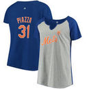 Mike Piazza New York Mets Majestic Women's Plus Size Pinstripe Player T-Shirt - Gray/Royal