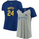 Ken Griffey Jr. Seattle Mariners Majestic Women's Plus Size Pinstripe Player T-Shirt - Gray/Royal