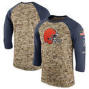 Cleveland Browns Nike Salute to Service Sideline Legend Performance Three-Quarter Sleeve T-Shirt – Camo/Anthracite