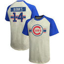 Ernie Banks Chicago Cubs Majestic Threads Cooperstown Collection Hard Hit Player Name & Number Raglan T-Shirt - Cream/Royal
