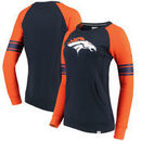 Denver Broncos NFL Pro Line by Fanatics Branded Women's Iconic Fleece Pullover Sweatshirt – Navy/Orange