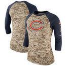 Chicago Bears Nike Women's Salute to Service Legend Three-Quarter Raglan Sleeve T-Shirt - Camo/Navy