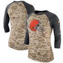 Cleveland Browns Nike Women's Salute to Service Legend Three-Quarter Raglan Sleeve T-Shirt - Camo/Charcoal