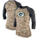 Green Bay Packers Nike Women's Salute to Service Legend Three-Quarter Raglan Sleeve T-Shirt - Camo/Charcoal