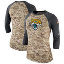 Jacksonville Jaguars Nike Women's Salute to Service Legend Three-Quarter Raglan Sleeve Performance T-Shirt - Camo/Charcoal