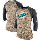 Miami Dolphins Nike Women's Salute to Service Legend Three-Quarter Raglan Sleeve Performance T-Shirt - Camo/Charcoal
