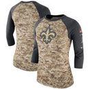 New Orleans Saints Nike Women's Salute to Service Legend Three-Quarter Raglan Sleeve Performance T-Shirt - Camo/Charcoal