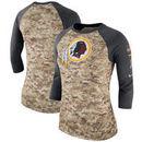 Washington Redskins Nike Women's Salute to Service Legend Three-Quarter Raglan Sleeve Performance T-Shirt - Camo/Charcoal
