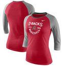 Arizona Diamondbacks Nike Women's Tri-Blend Raglan 3/4-Sleeve T-Shirt – Heathered Red