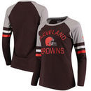 Cleveland Browns NFL Pro Line by Fanatics Branded Women's Iconic Long Sleeve T-Shirt - Brown/Heathered Gray