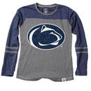 Penn State Nittany Lions Wes & Willy Girls Youth Slub Blend Long Sleeve Jersey T-Shirt - Heathered Navy