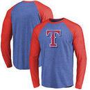 Texas Rangers Fanatics Branded Team Tri-Blend Long Sleeve T-Shirt - Royal/Red
