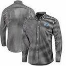 Detroit Lions Antigua National Woven Long Sleeve Button-Down Shirt - Black/White