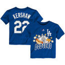 Clayton Kershaw Los Angeles Dodgers Majestic Toddler Snack Attack Name & Number T-Shirt - Royal
