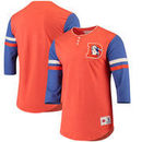 Denver Broncos Mitchell & Ness Homestretch Henley 2.0 3/4-Sleeve T-Shirt - Orange