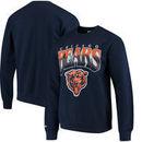 Chicago Bears Mitchell & Ness Rushing Line Pullover Sweatshirt - Navy