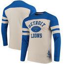 Detroit Lions Mitchell & Ness Swing Pass Long Sleeve T-Shirt - Cream/Blue
