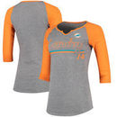 Jarvis Landry Miami Dolphins Women's Juniors Over the Line Player Name & Number Tri-Blend 3/4-Sleeve V-Notch T-Shirt - Heathered