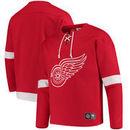 Detroit Red Wings Fanatics Branded Breakaway Lace Up Pullover Sweatshirt - Red