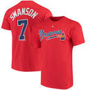 Dansby Swanson Atlanta Braves Majestic Official Name & Number T-Shirt - Scarlet
