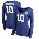 Eli Manning New York Giants NFL Pro Line by Fanatics Branded Women's Authentic Stack Name & Number Long Sleeve V-Neck T-Shirt -