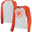 Clemson Tigers Blue 84 Women's Cozy Fleece Raglan Crew Pullover Sweatshirt - White/Orange