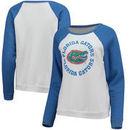 Florida Gators Blue 84 Women's Cozy Fleece Raglan Crew Pullover Sweatshirt - White