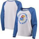 Kansas Jayhawks Blue 84 Women's Cozy Fleece Raglan Crew Pullover Sweatshirt - White