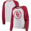 Oklahoma Sooners Blue 84 Women's Cozy Fleece Raglan Crew Pullover Sweatshirt - White