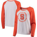 Syracuse Orange Blue 84 Women's Cozy Fleece Raglan Crew Pullover Sweatshirt - White