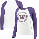 Washington Huskies Blue 84 Women's Cozy Fleece Raglan Crew Pullover Sweatshirt - White