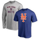 New York Mets Fanatics Branded Big & Tall Short Sleeve and Long Sleeve T-Shirt Gift Bundle - Royal/Heathered Gray